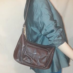 Fossil Brown Weathered Leather Shoulder Bag